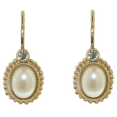 1928 Golden pearls oval bouton leverback earrings - . -