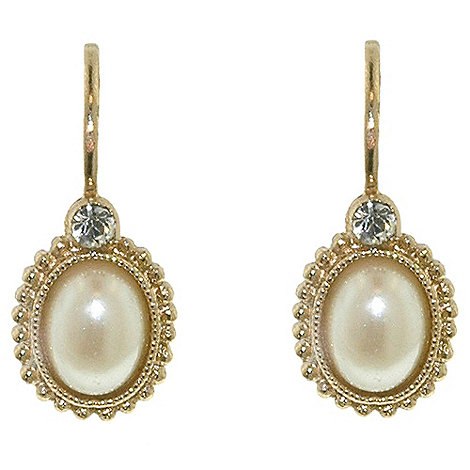1928 - Golden pearls oval bouton leverback earrings