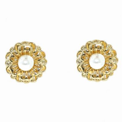 1928 Golden pearls flower stud earrings - . -
