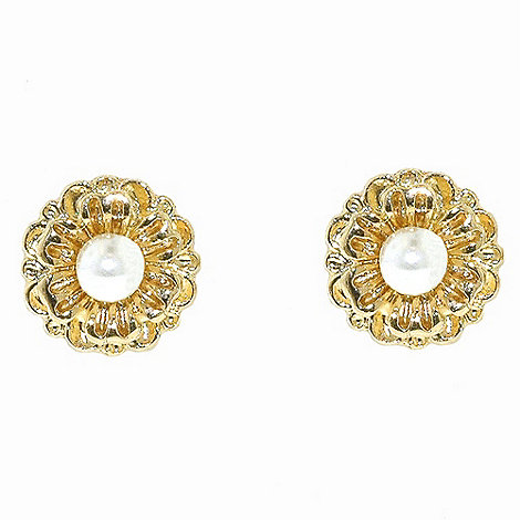1928 - Golden pearls flower stud earrings