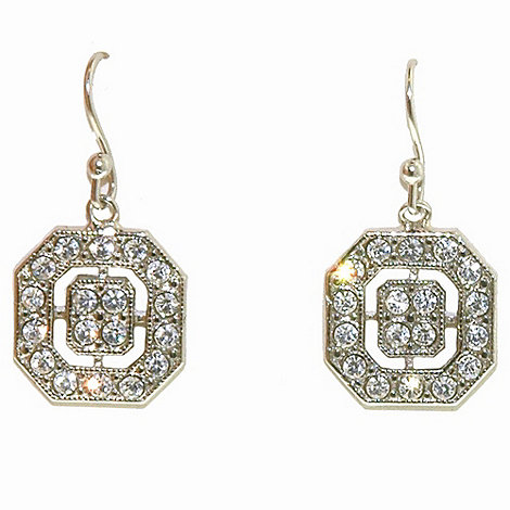 1928 - Silver deco octagonal earrings