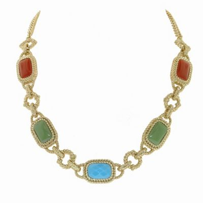 1928 Azteca gold cabochon necklace - . -