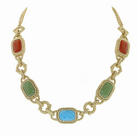 1928 - Azteca gold cabochon necklace