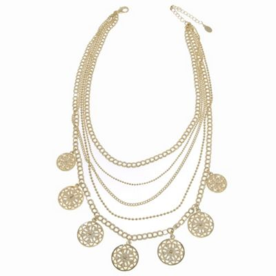 1928 Golden filigree disc layered necklace - . -