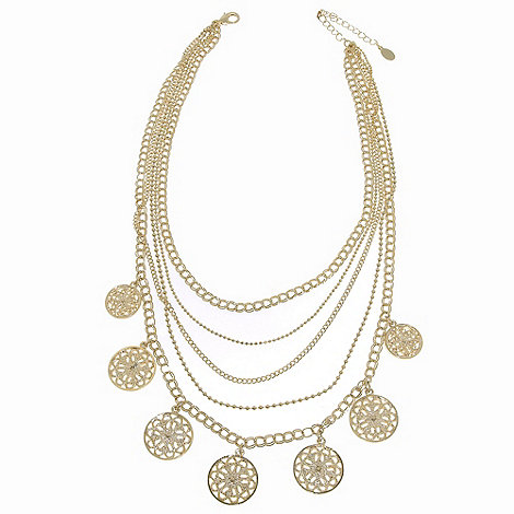 1928 - Golden filigree disc layered necklace