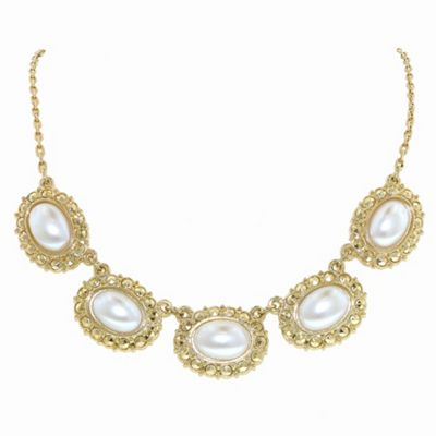 1928 Golden pearls oval bouton necklace - . -