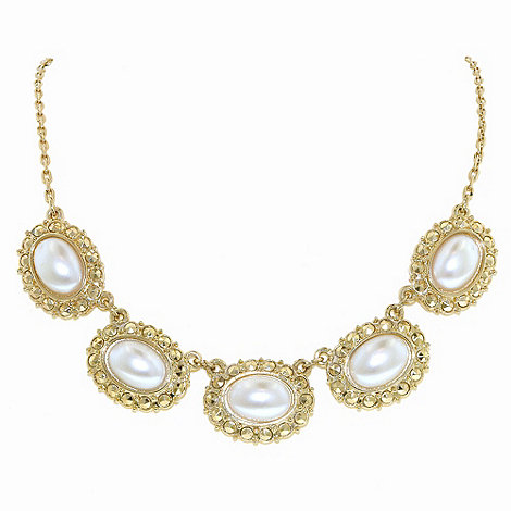 1928 - Golden pearls oval bouton necklace