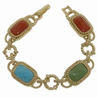 1928 Azteca gold cabochon bracelet - . -