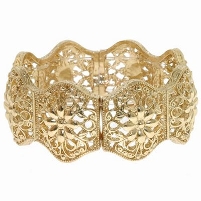 1928 Golden filigree links stretch bracelet - . -