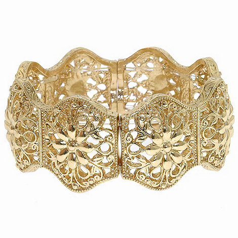 1928 - Golden filigree links stretch bracelet