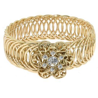 1928 Golden rings flower stretch bracelet - . -
