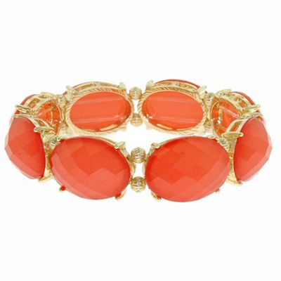 1928 Bollywood brights coral cabochon stretch bracelet - . -