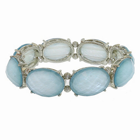 1928 - Oceanic hues cabochon stretch bracelet
