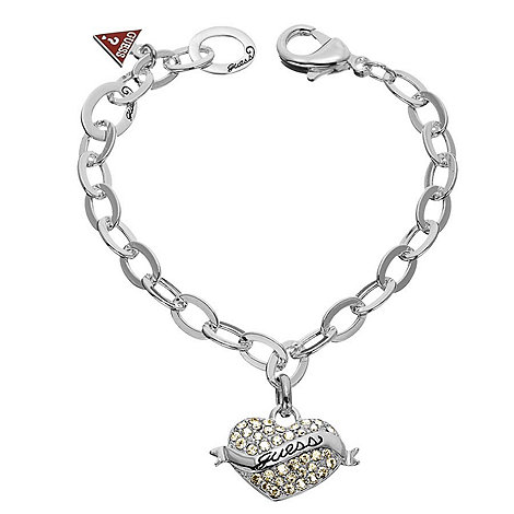 Guess - Silver coloured heart charm bracelet