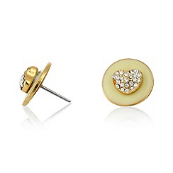 Pilgrim - Cream 2-in-1 heart and disc stud earrings