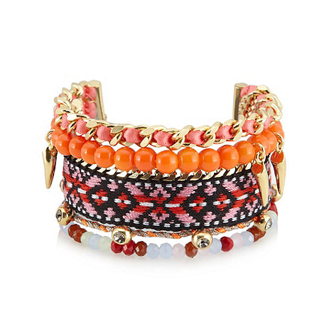 Pilgrim - Orange aztec multi strand bracelet