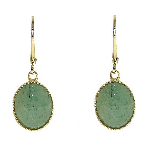 1928 - Bright brass & green jade oval drop earrings