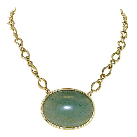 1928 - Bright brass & green jade oval necklace