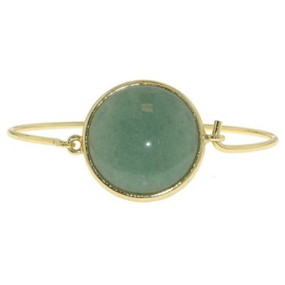 1928 Bright brass & green jade circular bangle - . -
