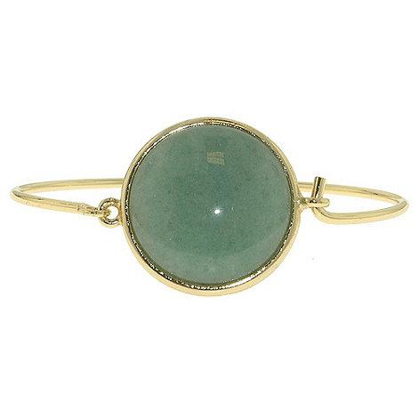 1928 - Bright brass & green jade circular bangle