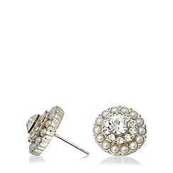No. 1 Jenny Packham - Designer gold stone flower earrings