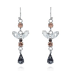 No. 1 Jenny Packham - Designer silver plated pink stone drop earrings
