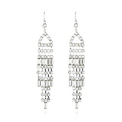 No. 1 Jenny Packham - Designer silver large baguette stone earrings