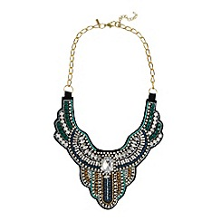 The Collection - Black embellished PU bib necklace