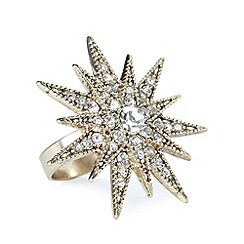 No. 1 Jenny Packham - Designer gold plated sparkle star ring S/M