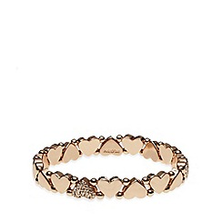 Pilgrim - Rose gold plated embellished heart bracelet