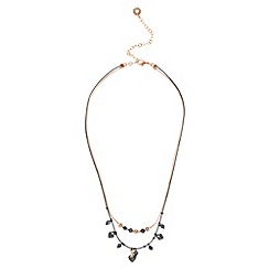Pilgrim - Rose gold plated multi chain heart necklace