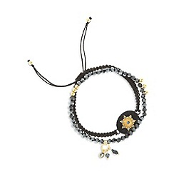 Pilgrim - Pack of two black bead star necklaces