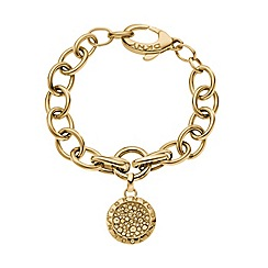 DKNY - Ladies chunky gold-tone chain bracelet with round stone embedded charm