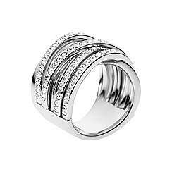 DKNY - Ladies cross-over fashion ring with clear stones M/L