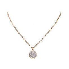 Finesse - Rose gold pav  cubic zirconia disc pendant