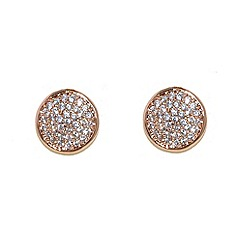 Finesse - Rose gold pav  cubic zirconia disc earrings