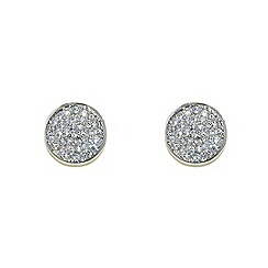 Finesse - Rhodium pav  cubic zirconia disc earrings