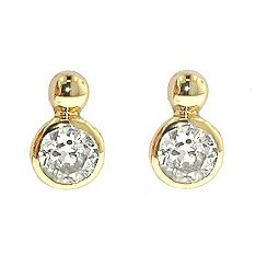 Finesse - Gold ball & brilliant cubic zirconia earrings