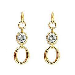 Finesse - Gold hoop & brilliant cubic zirconia earrings