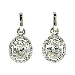 Finesse - Rhodium oval cubic zirconia pav  surround earrings