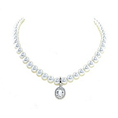 Finesse - Rhodium oval cubic zirconia pav  surround pearl necklace