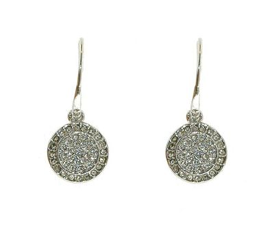 Crystalline Rhodium & crystal sparkling coin earrings - . -