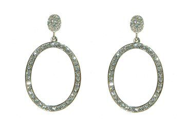 Crystalline Rhodium & crystal sparkling oval earrings - . -