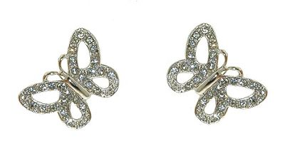 Crystalline Rhodium & crystal butterfly earrings - . -
