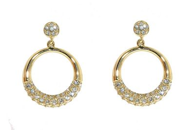 Crystalline Gold & crystal accented ´o´s earrings - . -