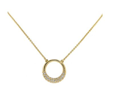 Crystalline Gold & crystal accented ´O´ necklace - . -