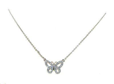 Crystalline Rhodium & crystal butterfly necklace - . -