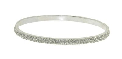 Crystalline Rhodium & crystal faced bangle - . -