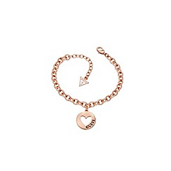 Guess - Rose gold plated bracelet with a heart disc pendant ubb51436