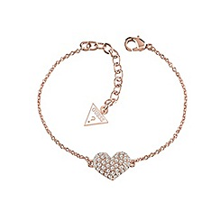 Guess - Rose gold plated bracelet with a heart charm